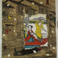 wu jide - river dwellers - ws woodblock print - 1998